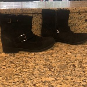 Clark's black suede booties